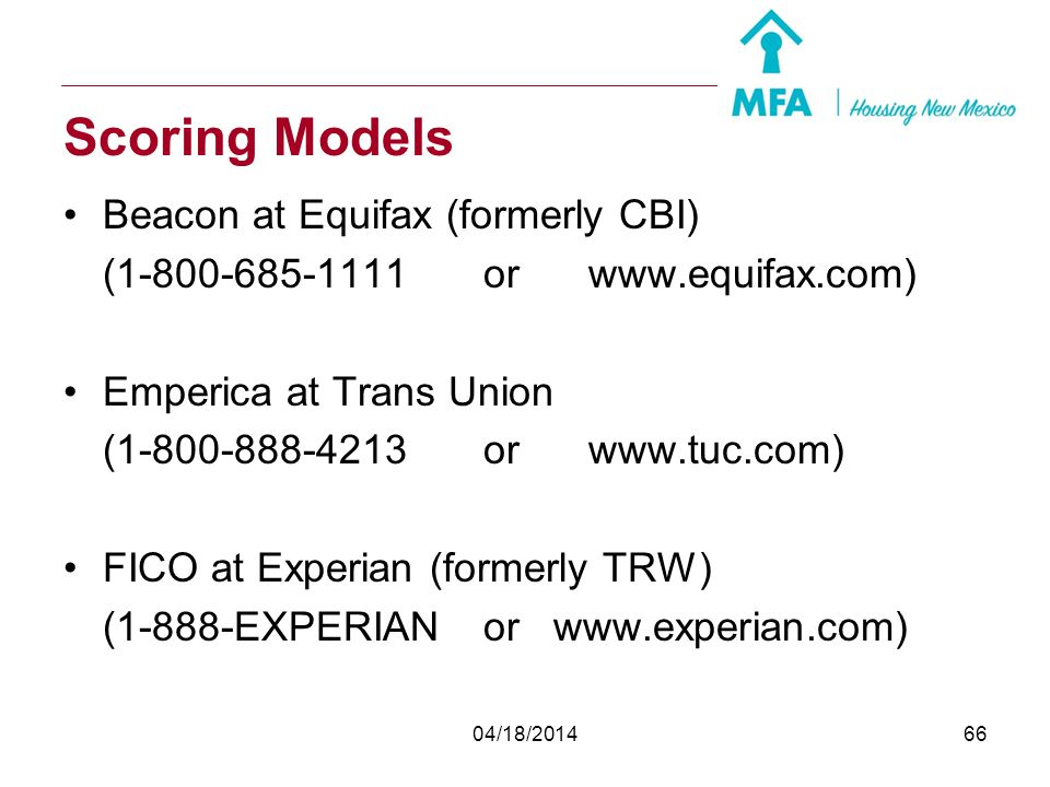 Scoring Models Beacon at Equifax (formerly CBI)