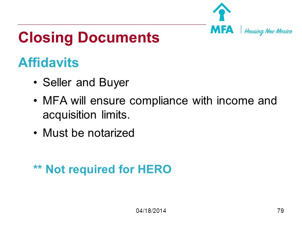 Closing Documents Affidavits Seller and Buyer