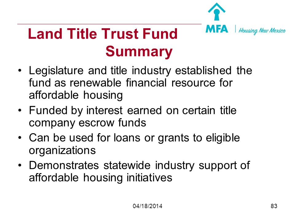 Land Title Trust Fund Summary