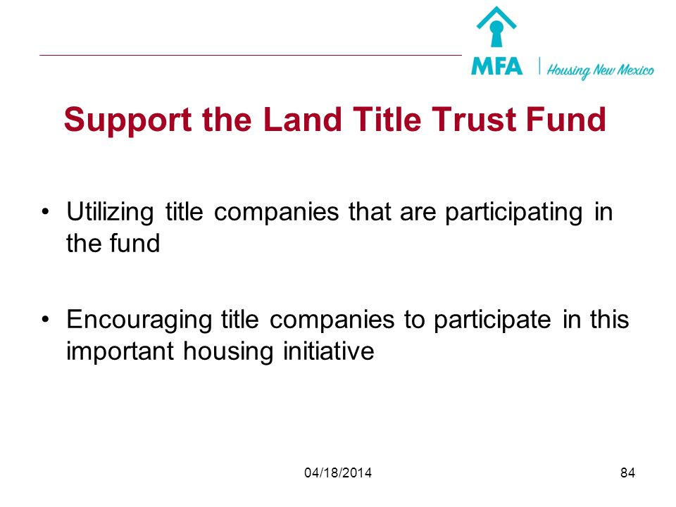 Support the Land Title Trust Fund