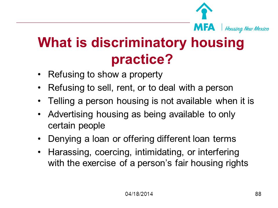 What is discriminatory housing practice
