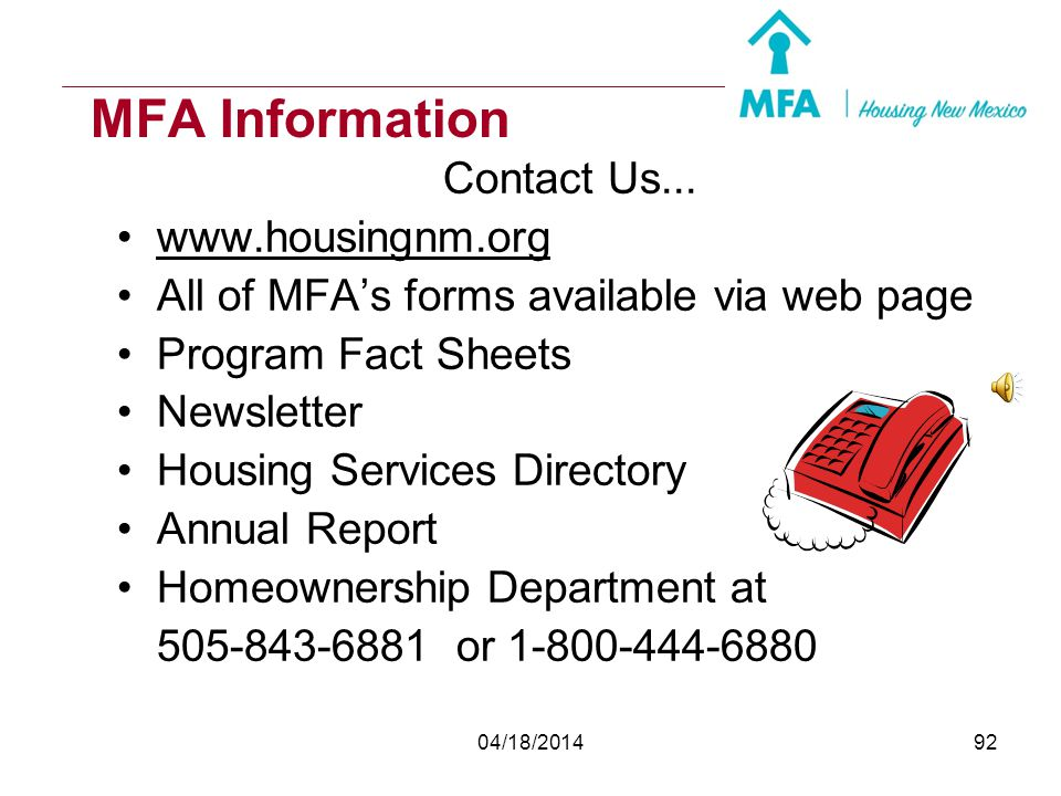 MFA Information Contact Us... www.housingnm.org