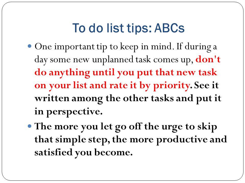 To do list tips: ABCs