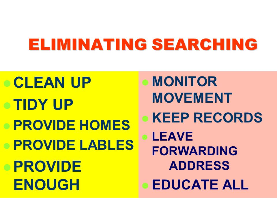 ELIMINATING SEARCHING