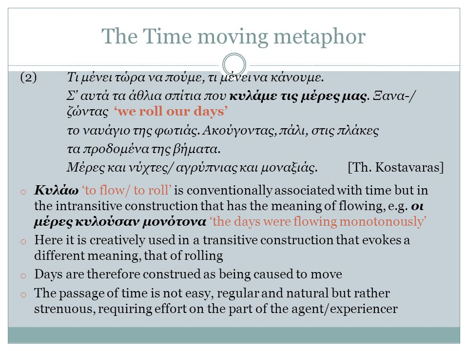The Time moving metaphor