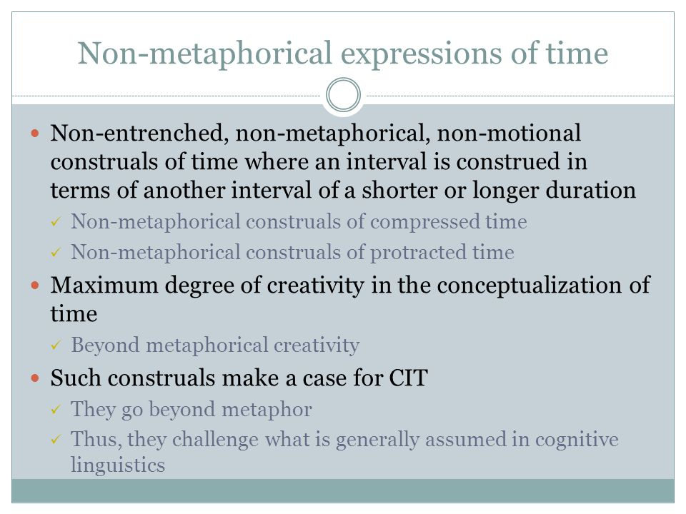 Non-metaphorical expressions of time