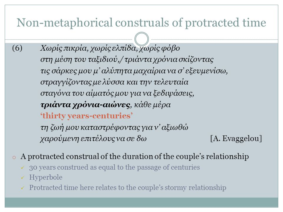 Non-metaphorical construals of protracted time