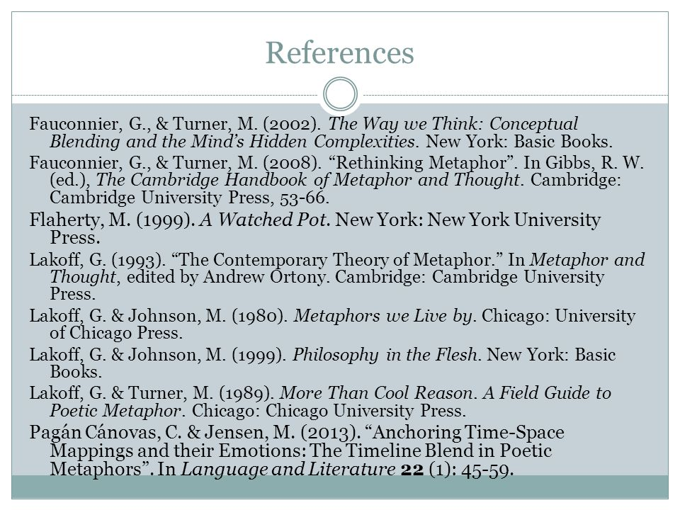 References Fauconnier, G., & Turner, M. (2002). The Way we Think: Conceptual Blending and the Mind's Hidden Complexities. New York: Basic Books.