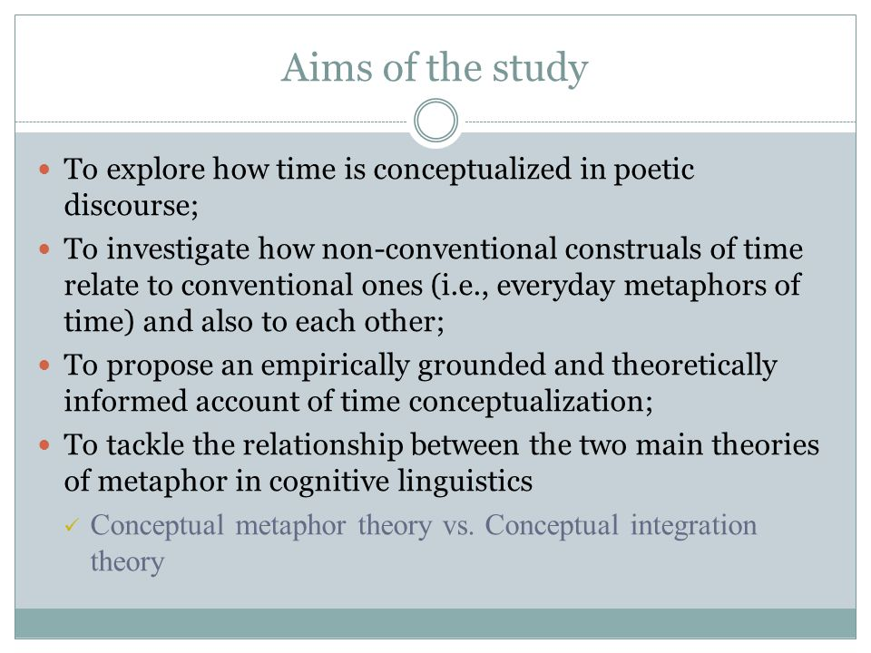 Aims of the study To explore how time is conceptualized in poetic discourse;