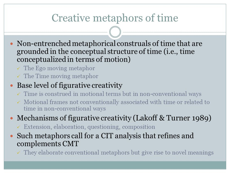Creative metaphors of time
