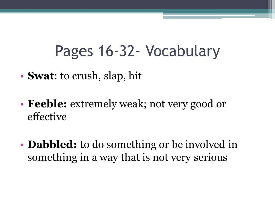 Pages 16-32- Vocabulary Swat: to crush, slap, hit