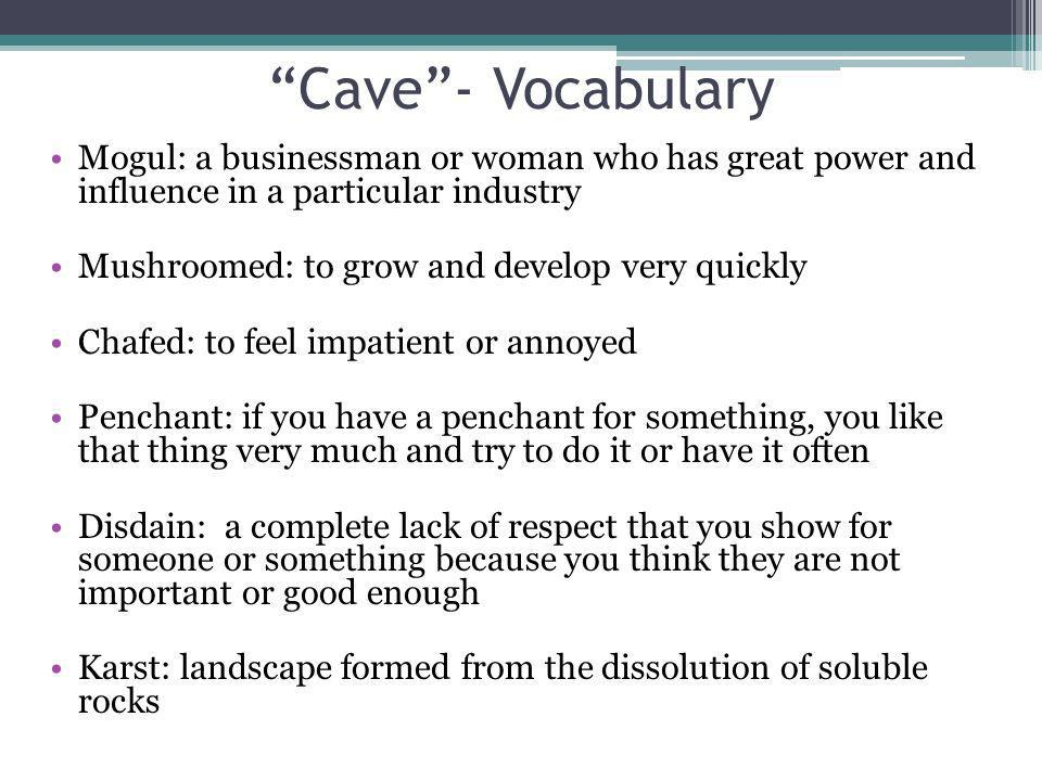 Cave - Vocabulary Mogul: a businessman or woman who has great power and influence in a particular industry.