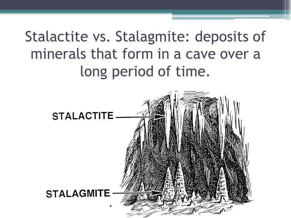 Stalactite vs. Stalagmite: deposits of minerals that form in a cave over a long period of time.
