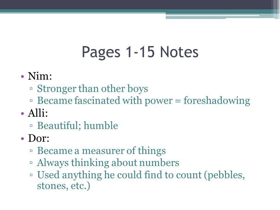 Pages 1-15 Notes Nim: Alli: Dor: Stronger than other boys