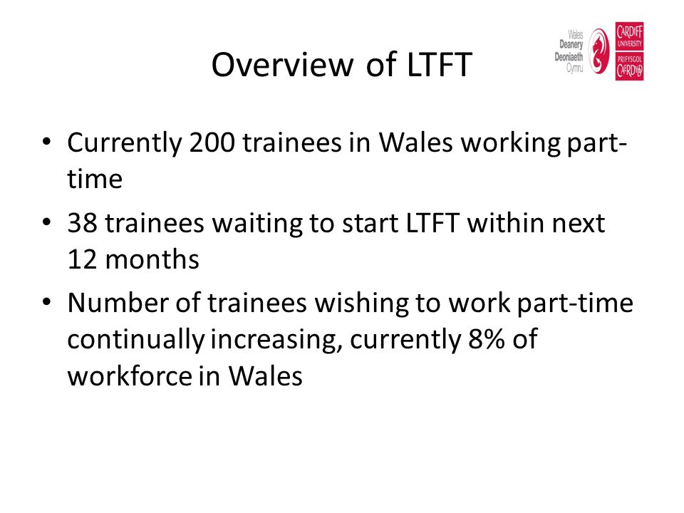 Overview of LTFT Currently 200 trainees in Wales working part-time