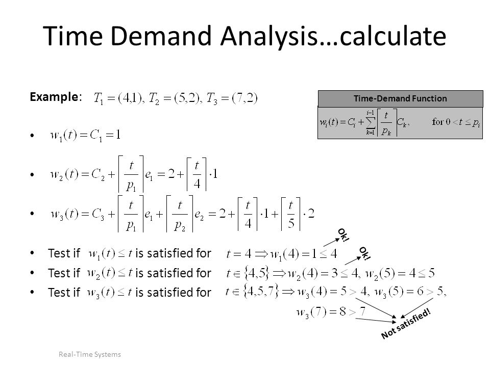 Time Demand Analysis…calculate