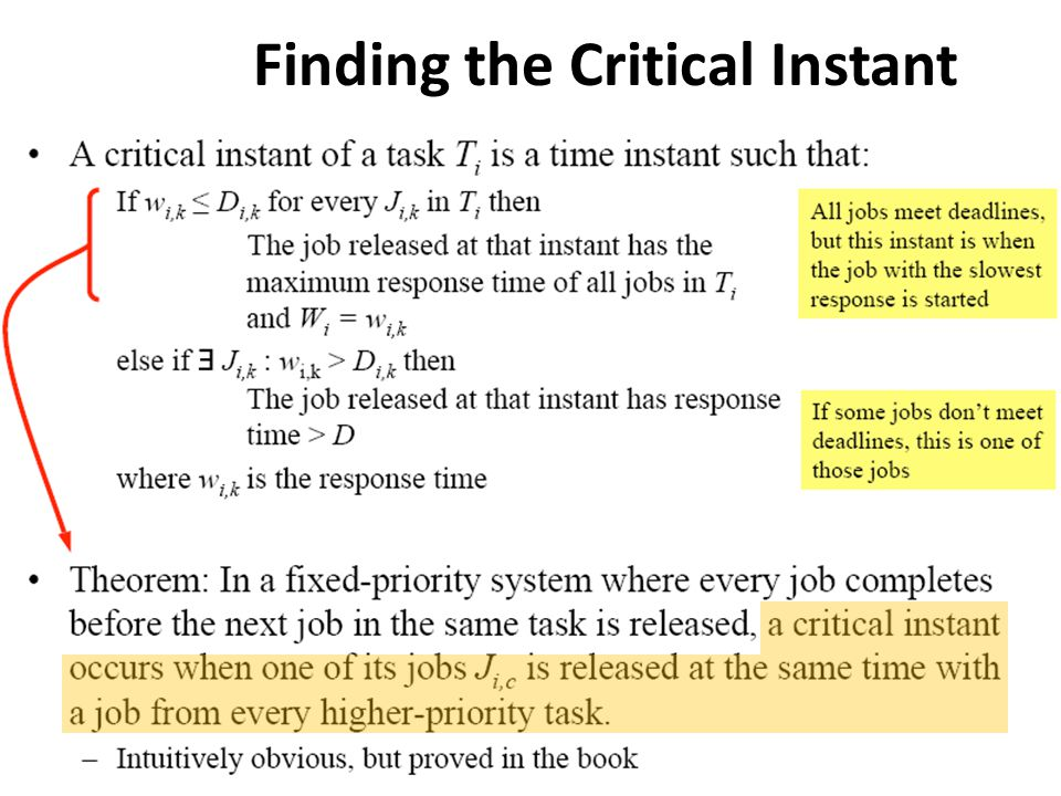 Finding the Critical Instant