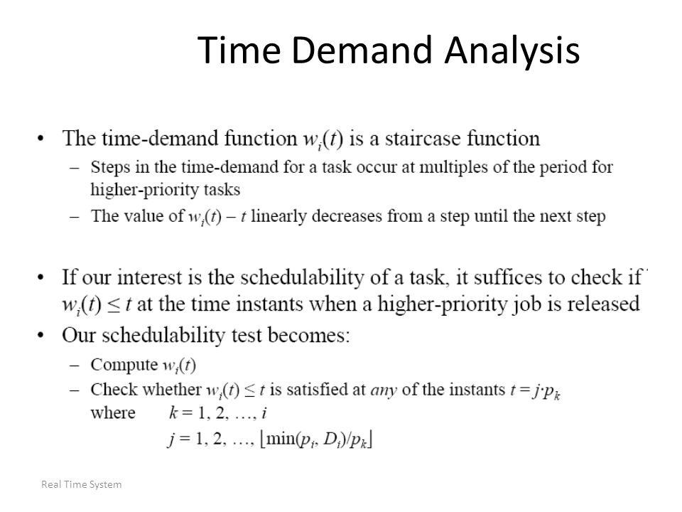 Time Demand Analysis Real Time System