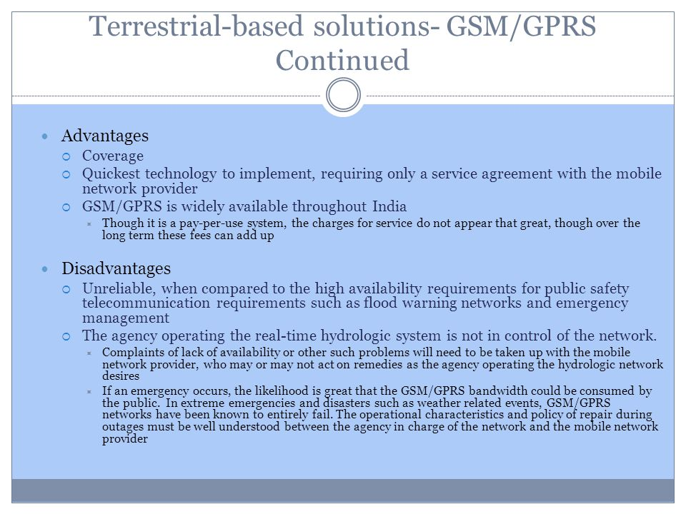 Terrestrial-based solutions- GSM/GPRS Continued
