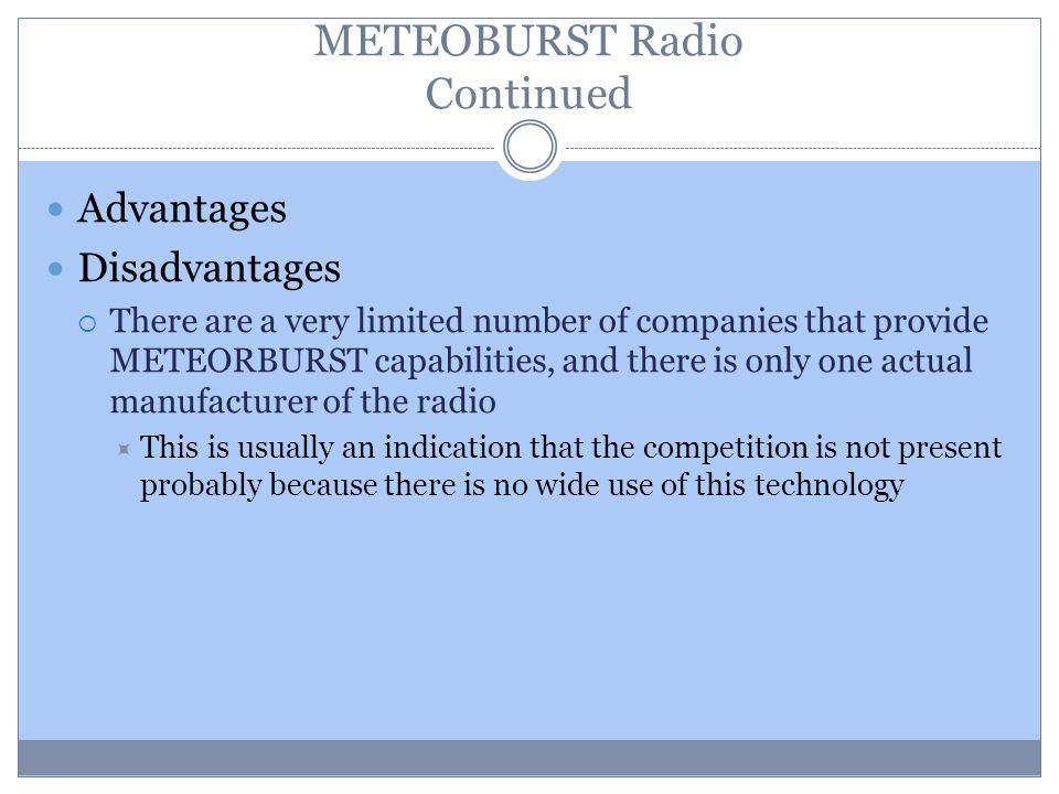 METEOBURST Radio Continued