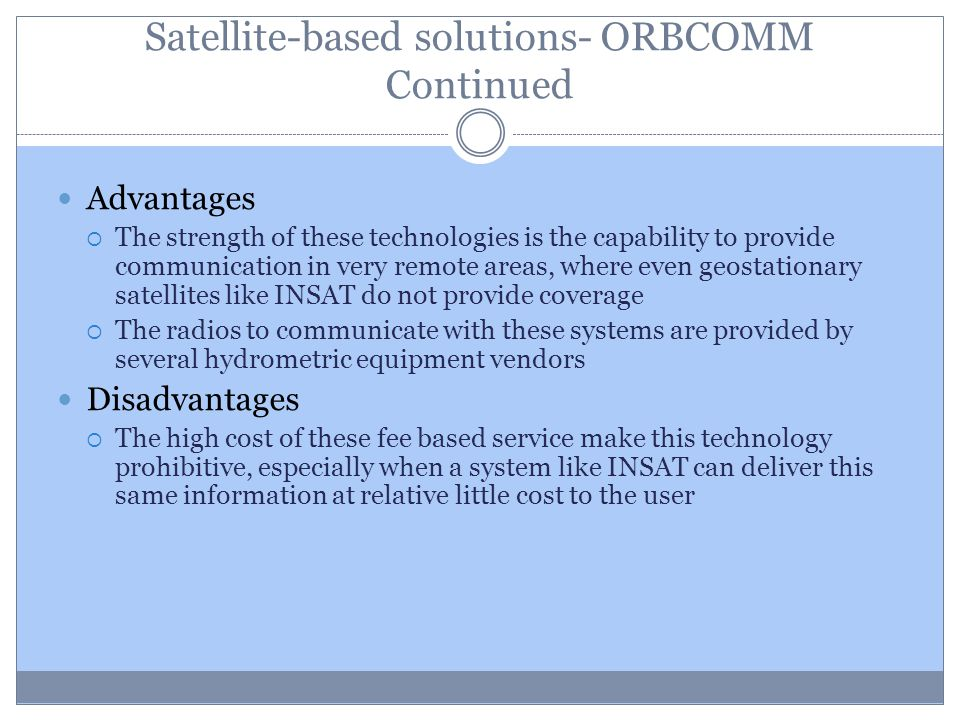 Satellite-based solutions- ORBCOMM Continued