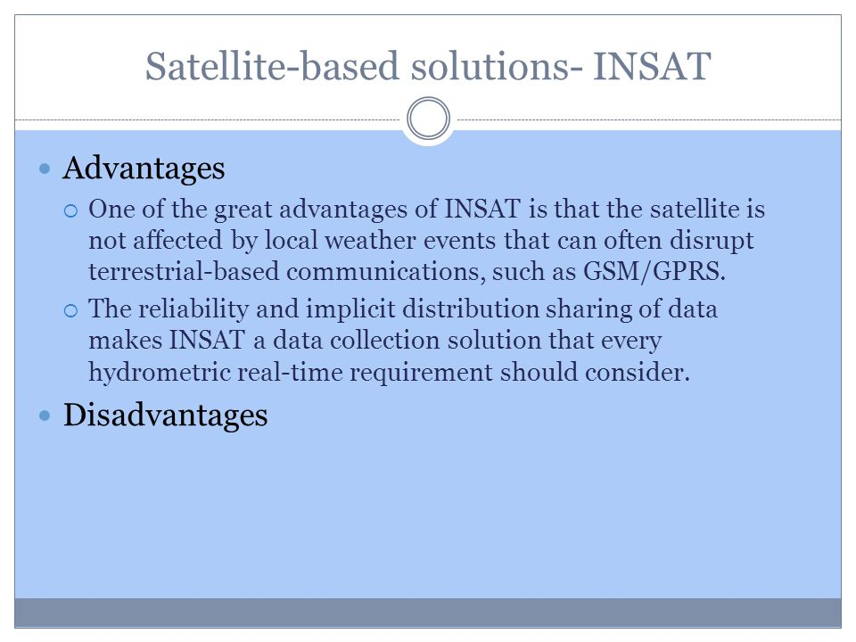 Satellite-based solutions- INSAT