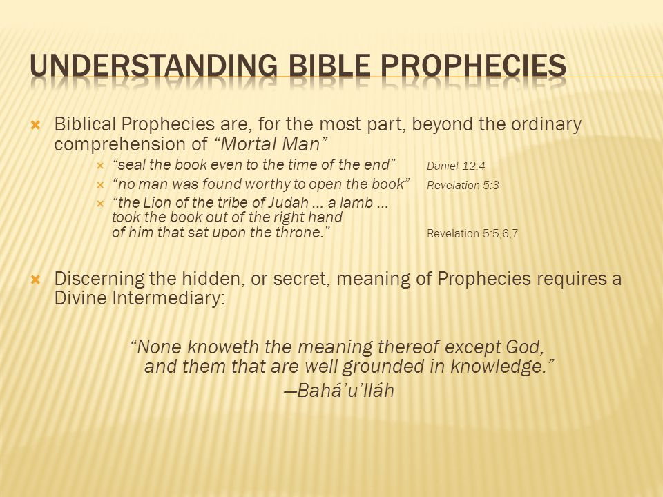 Understanding Bible Prophecies