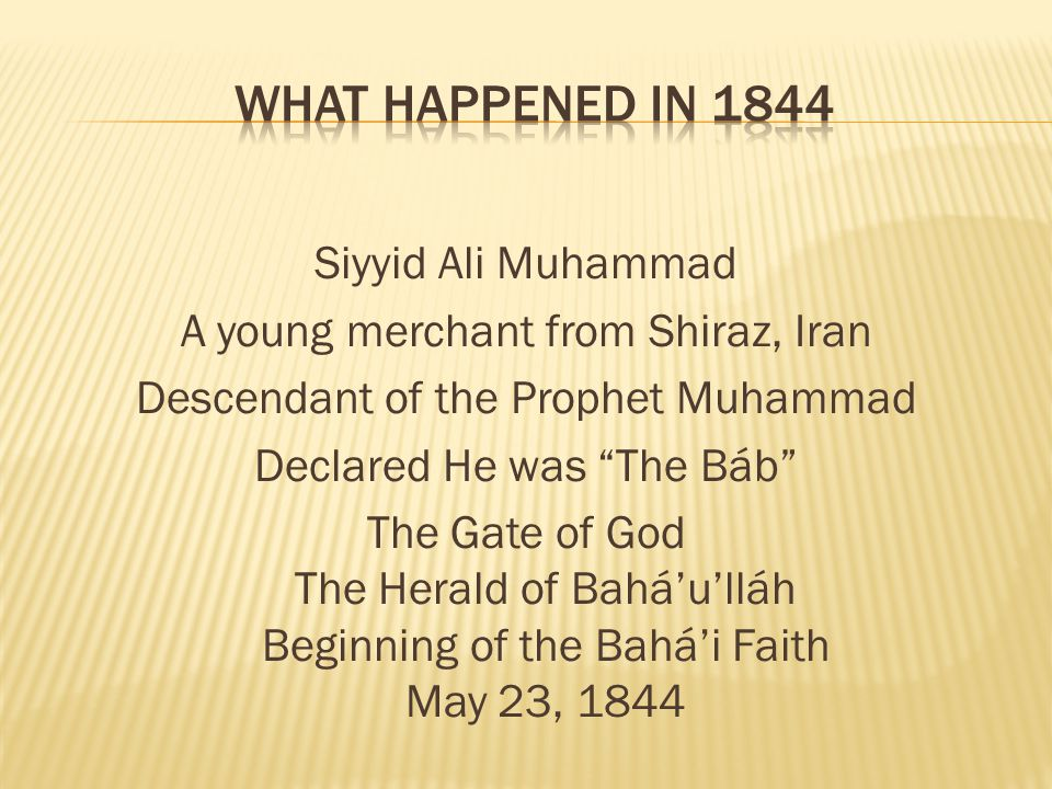 What Happened in 1844
