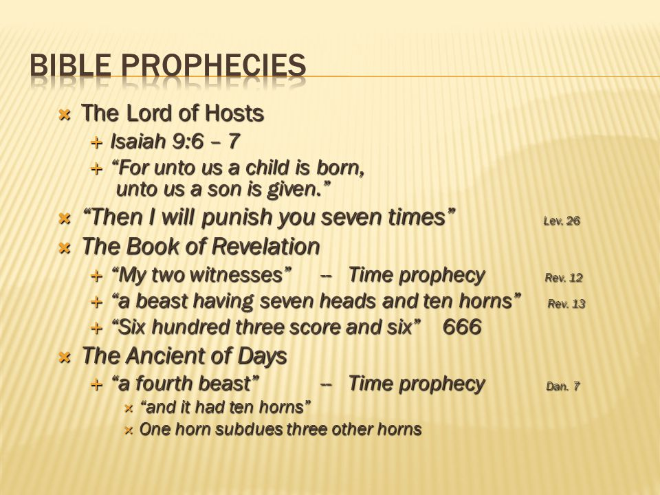 Bible Prophecies The Lord of Hosts