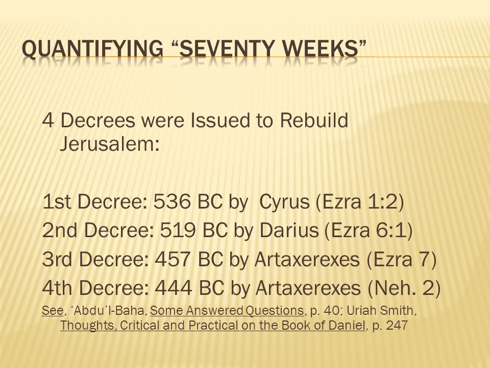 Quantifying Seventy Weeks