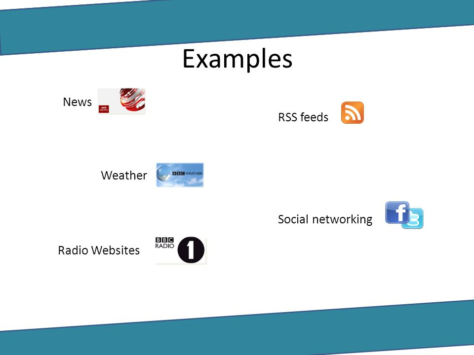 Examples News RSS feeds Weather Social networking Radio Websites