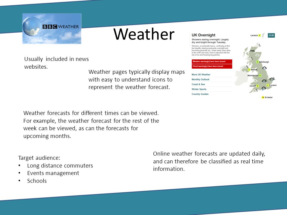 Weather Usually included in news websites.