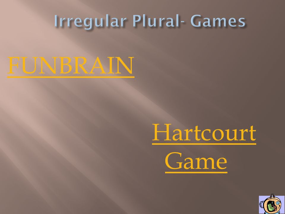 Irregular Plural- Games