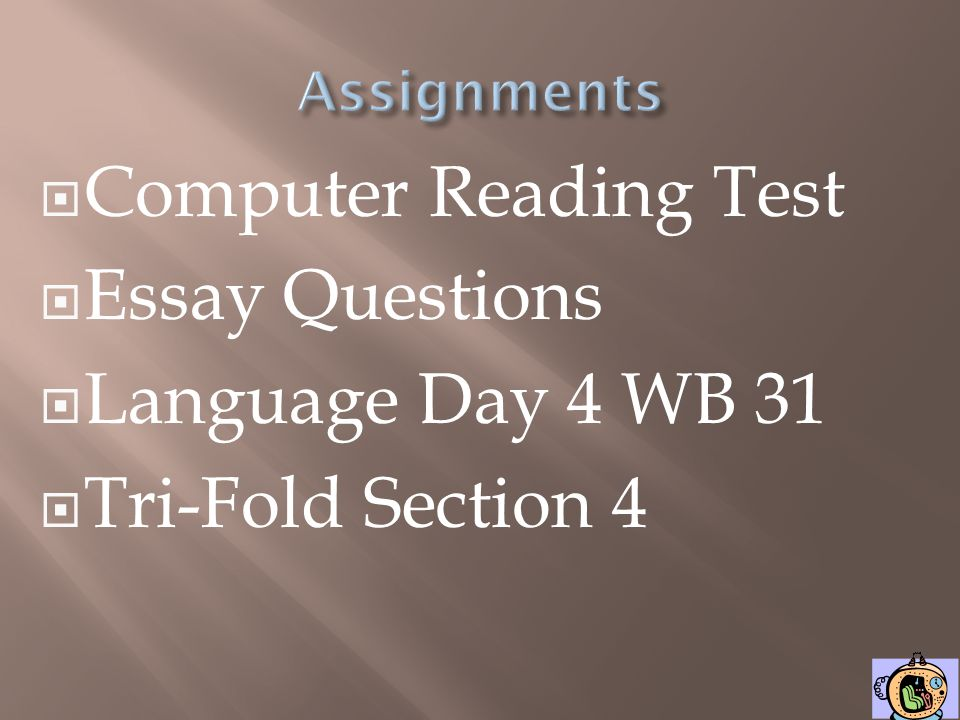 Computer Reading Test Essay Questions Language Day 4 WB 31