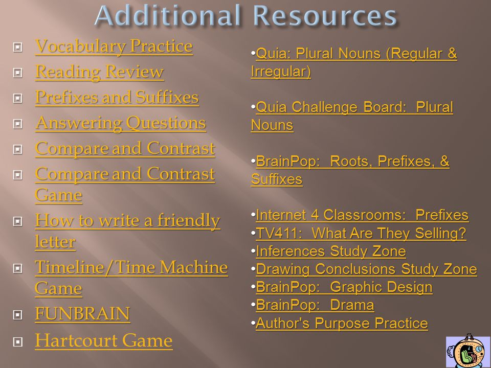 Additional Resources Hartcourt Game Vocabulary Practice Reading Review