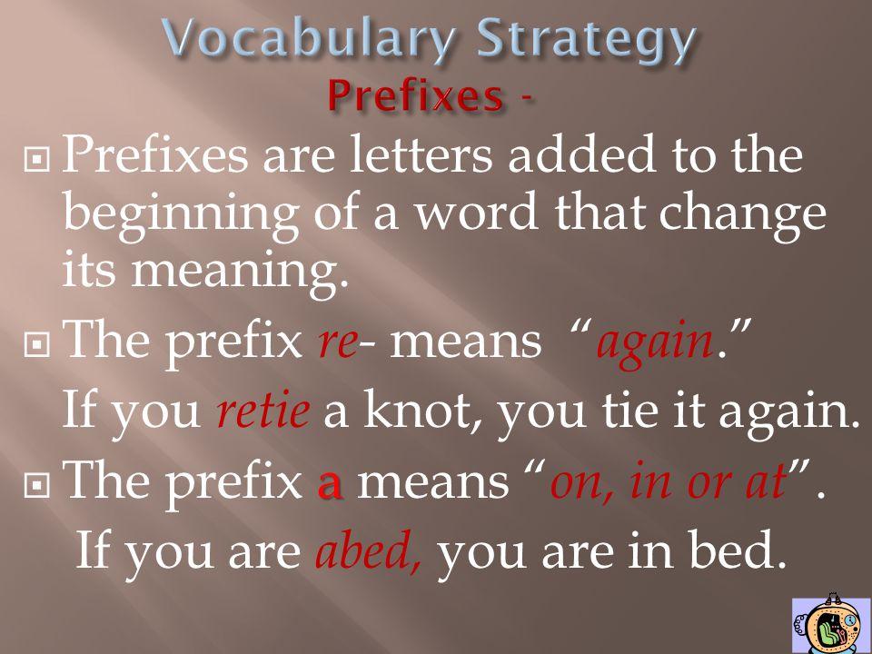 Vocabulary Strategy Prefixes -