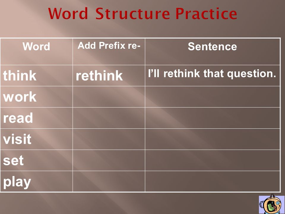 Word Structure Practice