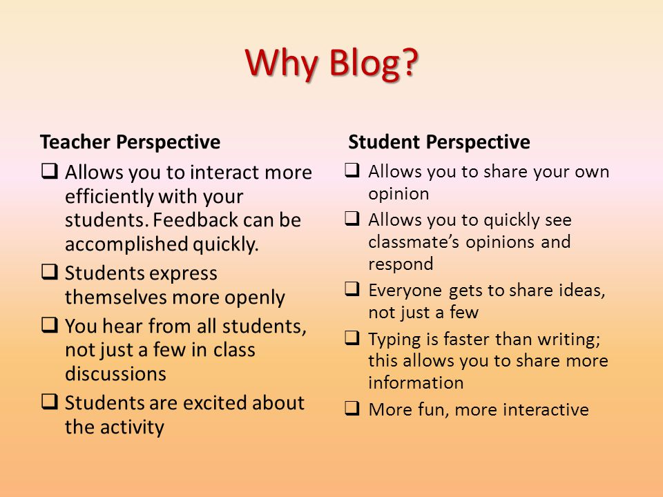 Why Blog Teacher Perspective Student Perspective