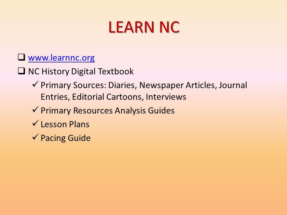 LEARN NC www.learnnc.org NC History Digital Textbook