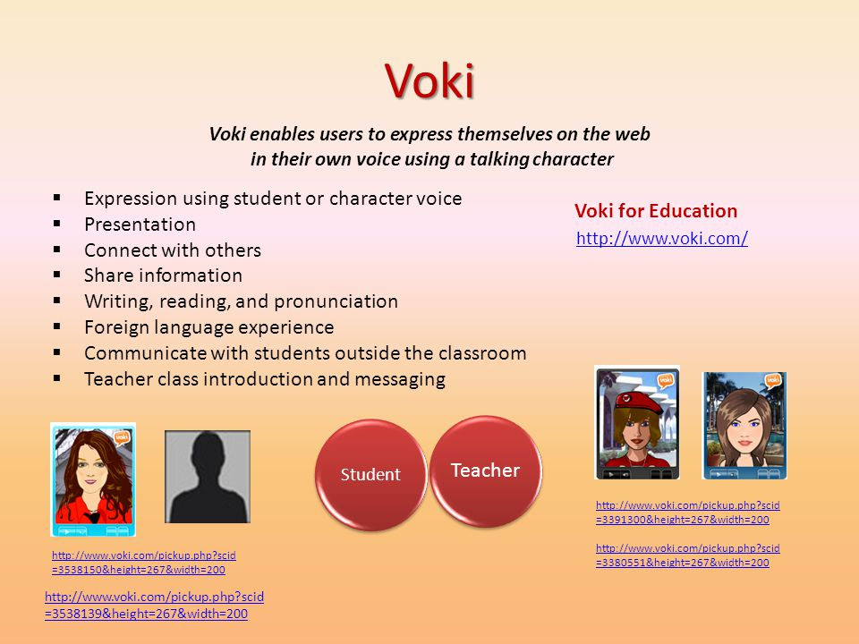 Voki Expression using student or character voice Presentation
