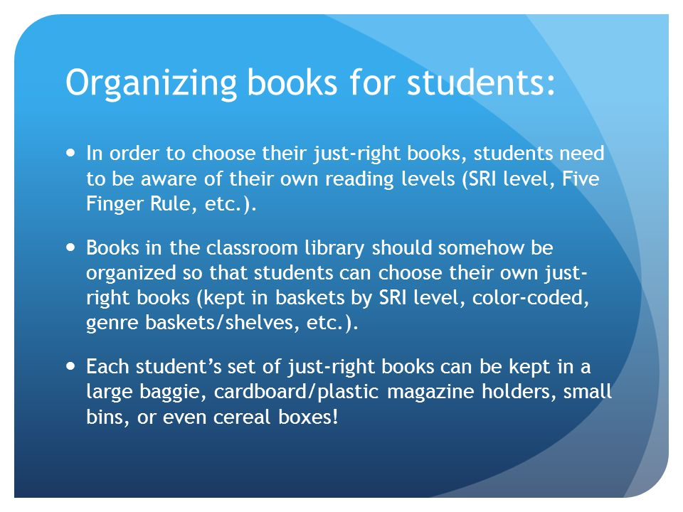 Organizing books for students: