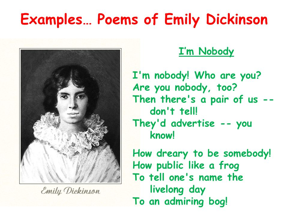Examples… Poems of Emily Dickinson