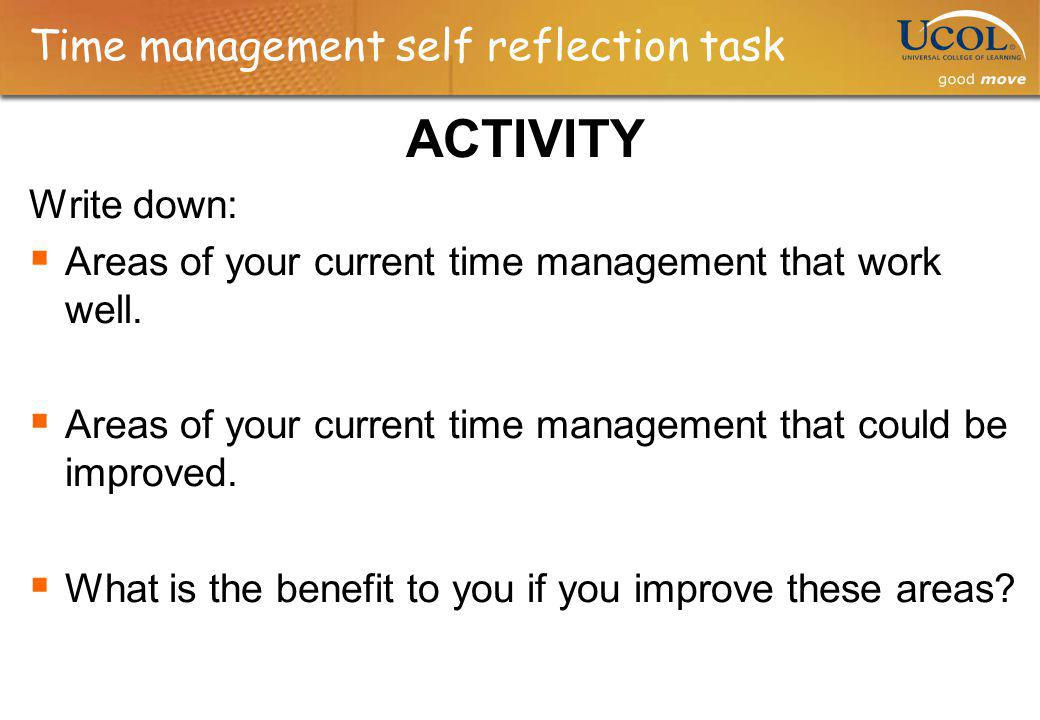 Time management self reflection task