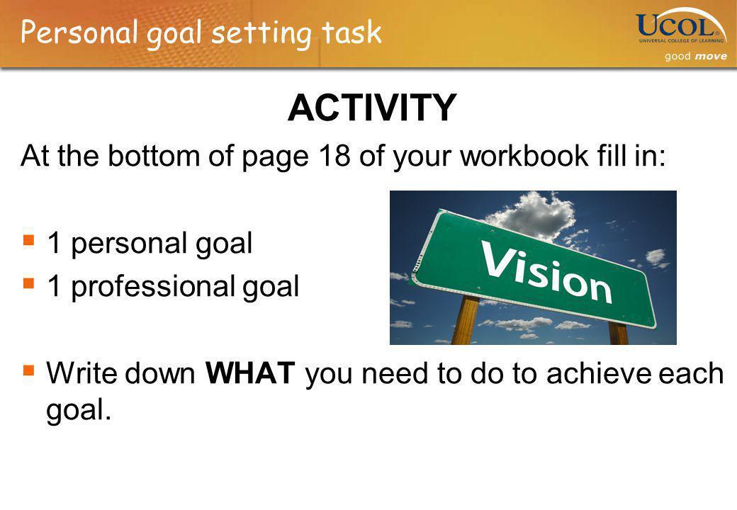 Personal goal setting task