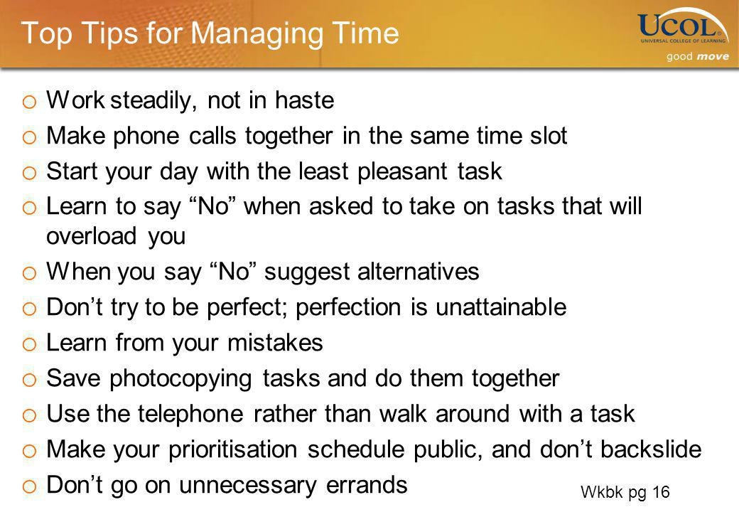 Top Tips for Managing Time