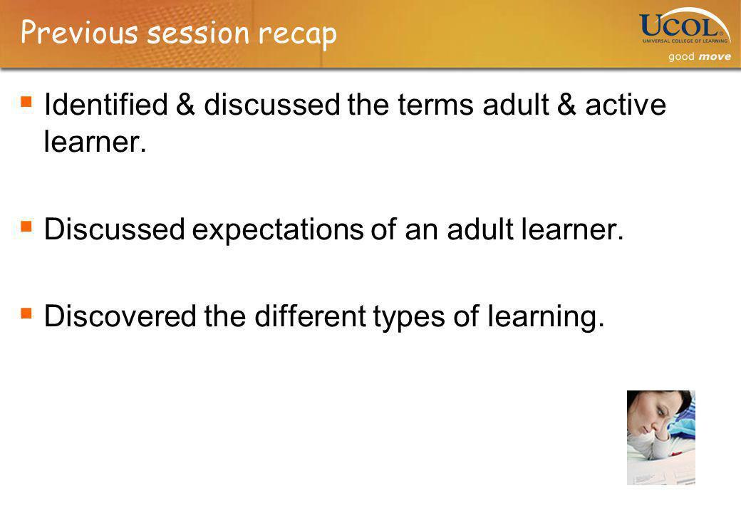 Previous session recap