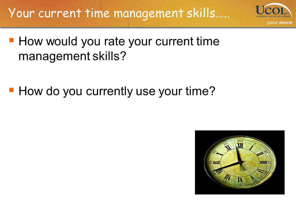 Your current time management skills…..