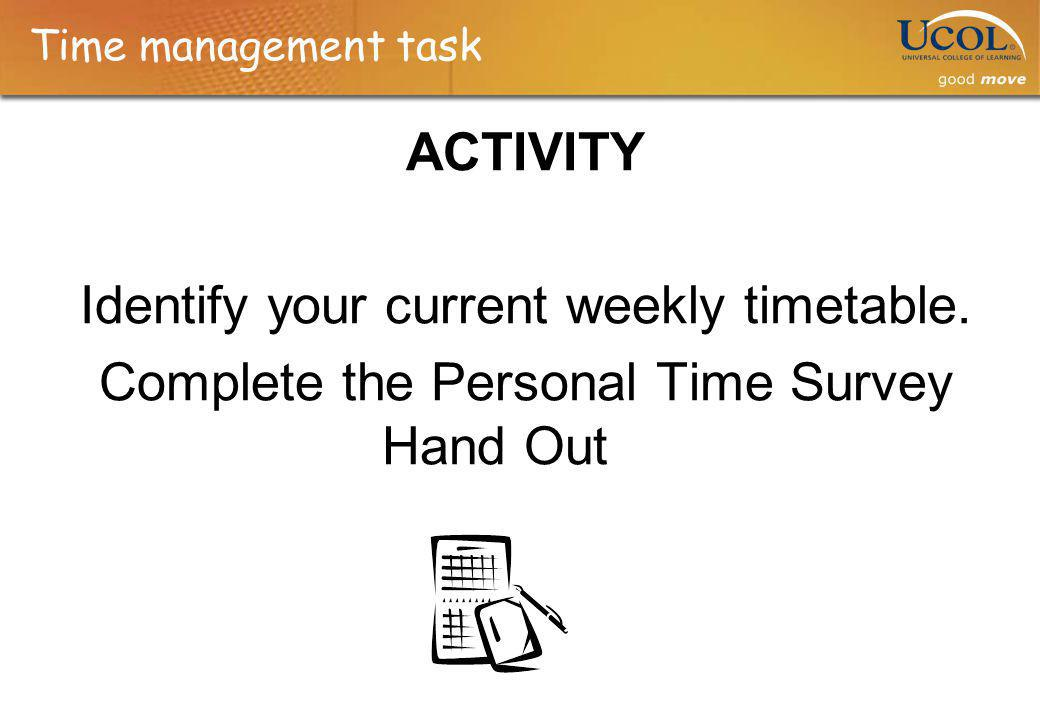 Time management task ACTIVITY Identify your current weekly timetable.