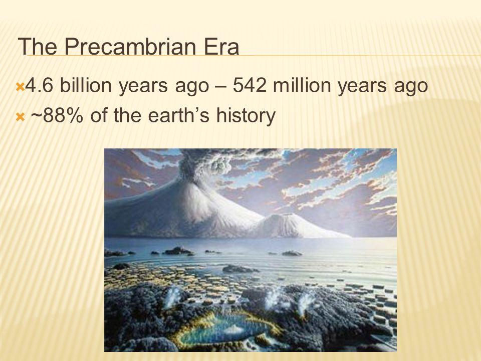 The Precambrian Era 4.6 billion years ago – 542 million years ago