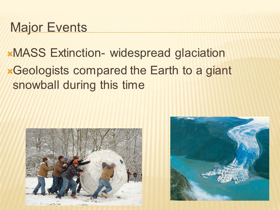 Major Events MASS Extinction- widespread glaciation